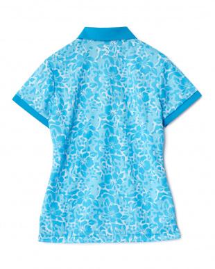 BLUE JEWEL  ハイビスカス柄半袖ポロシャツ見る