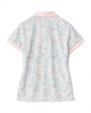 PINK  ハイビスカス柄半袖ポロシャツ見る