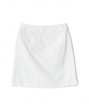 WHITE  デニム風 フロントボタンスカート見る