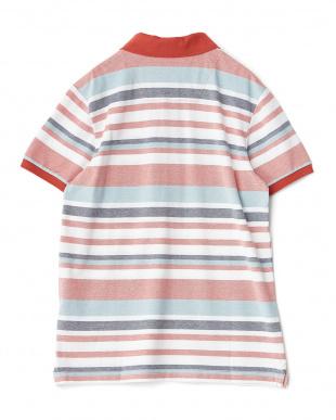 レッド  ボーダー柄半袖ポロシャツ見る