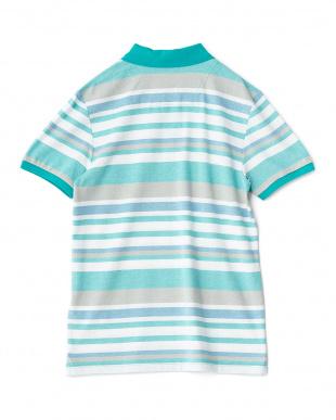 グリーン  ボーダー柄半袖ポロシャツ見る