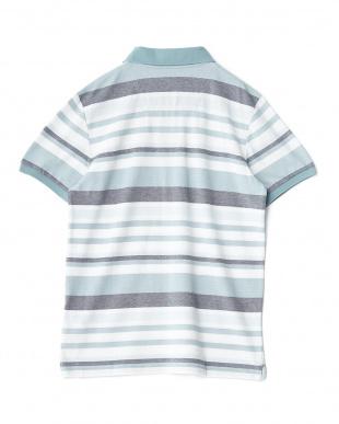 ライトブルー  ボーダー柄半袖ポロシャツ見る
