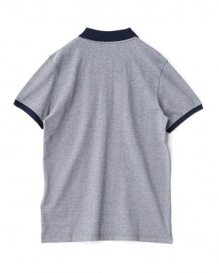 ネイビー  メランジ半袖ポロシャツ見る