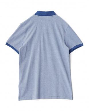 ブルー  メランジ半袖ポロシャツ見る