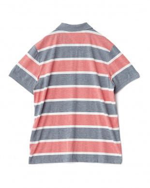 レッド  太ボーダー半袖ポロシャツ見る