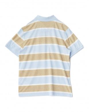 サックス  太ボーダー半袖ポロシャツ見る