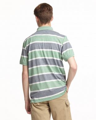 グリーン  太ボーダー半袖ポロシャツ見る