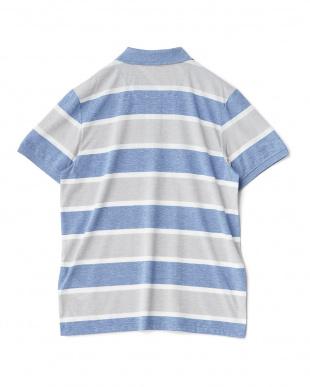 ブルー  太ボーダー半袖ポロシャツ見る