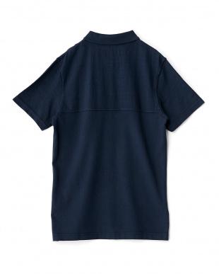ネイビー  ナンバー入りヴィンテージ風半袖ポロシャツ見る