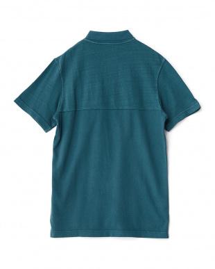 グリーン  ナンバー入りヴィンテージ風半袖ポロシャツ見る