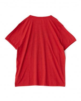 レッド  ロゴマーク入り半袖Tシャツ見る