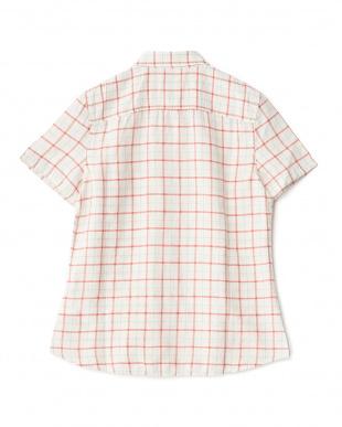 レッド  リネン混 チェック柄半袖シャツ見る