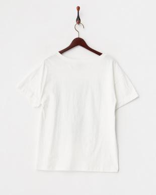 ホワイト ヤシの木フロッキープリントTシャツ見る