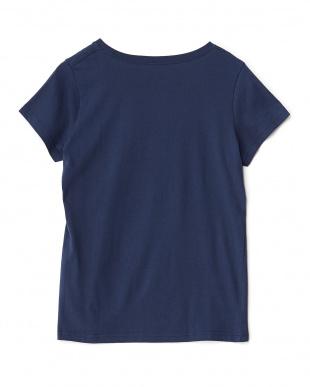 ネイビー パームツリー柄Tシャツ見る