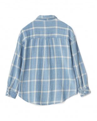 ブルー  チェック柄長袖シャツ見る