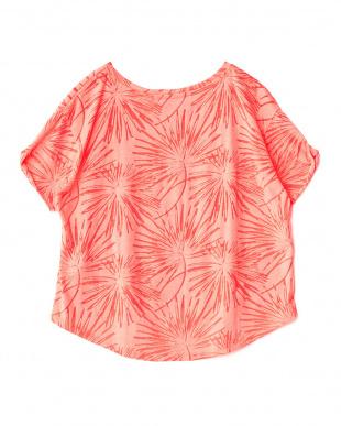 ネオンピンク  透かし柄クロップドTシャツ見る