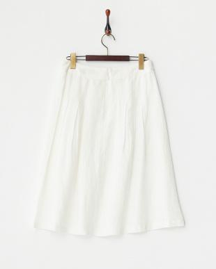 ホワイト リネンシャンブレースカート見る