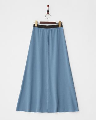 ブルー センターシーム裏毛ロングスカート見る