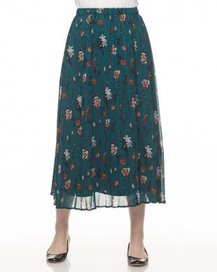 グリーン  ボタニカルプリント プリーツスカート見る