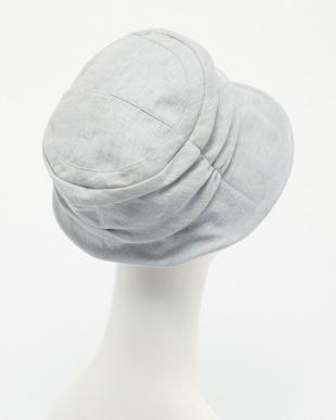 ブルー  リネンUVカット帽子見る