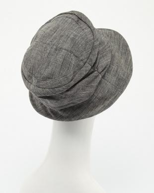 ブラック  リネンUVカット帽子見る
