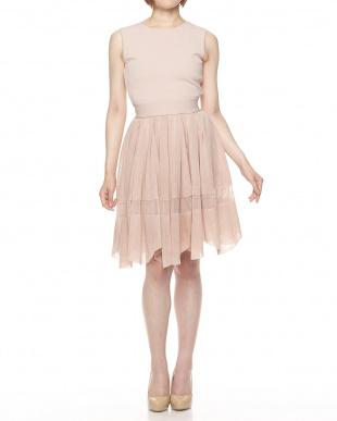 ピンク 透かしライン ニットドレス見る