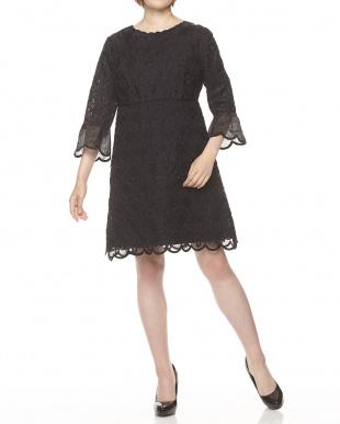 ブラック  フラワー刺繍オーガンジードレス見る