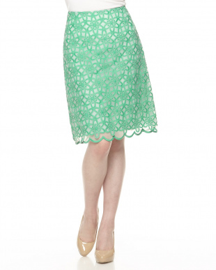 グリーン フラワー刺繍オーガンジースカート見る