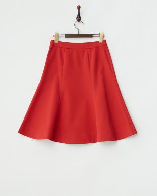 レッド 二重織フレアスカート見る