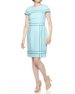 ブルー 配色パイピングドレス見る