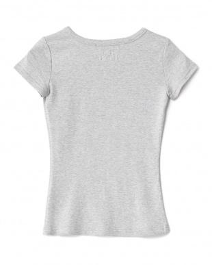 グレー  バックラインストーン Tシャツ見る