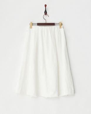 ホワイト リネンクロスcasualギャザースカート見る