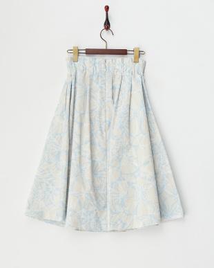 アイスブルー  ラインflowerフレアスカート見る