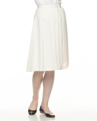 ホワイト  プリーツmixラップスカート見る