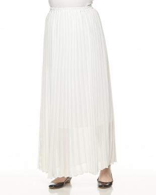 ホワイト  シアープリーツマキシスカート見る