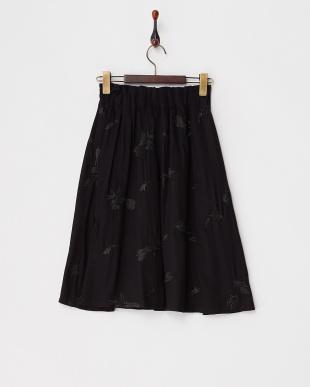 ブラック  ウエストタック 刺しゅうスカート見る