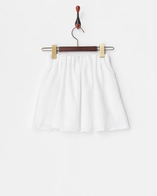 ホワイト  サッカーギャザーフレアスカート見る