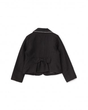 ブラック リボン付きツイードジャケット見る