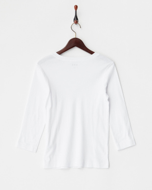 WHITE  Cotton Knits 3/4 V-Neck Nicole見る