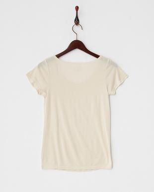 ベージュ  シルクフレンチ袖シャツ見る