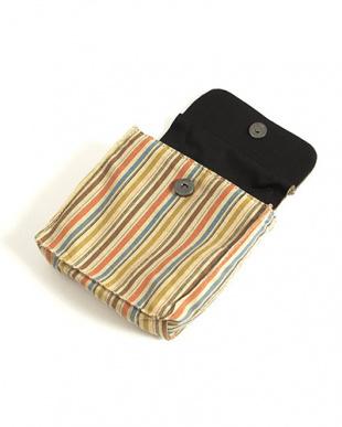 ベージュ系 差し込み帯飾り付き 縦縞信玄袋|MEN見る