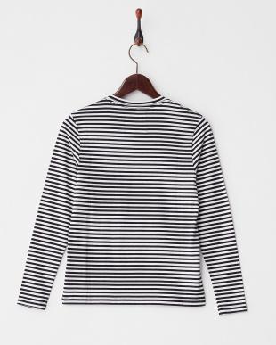 ネイビー 長袖クルーネックポケットTシャツ|WOMEN見る