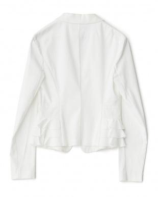 ホワイト  サイド裾フリルジャケット見る