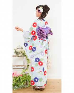 ライトブルー系 ぼかし調椿 スクール浴衣+造り帯+下駄|GIRL見る