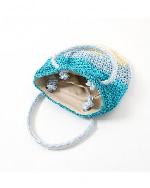 ブルー系  配色ボーダー 子供用サマーバッグ|GIRL見る