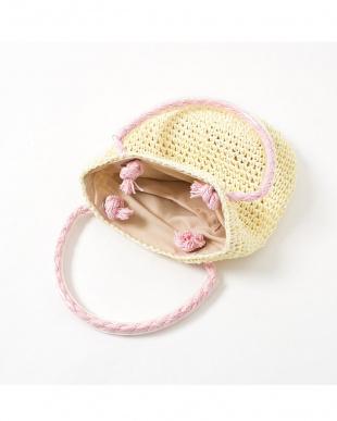 ベージュ系 配色ハンドル 子供用サマーバッグ|GIRL見る