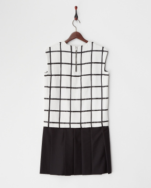 BLACK WHITE PD チェック柄プリーツドレス見る