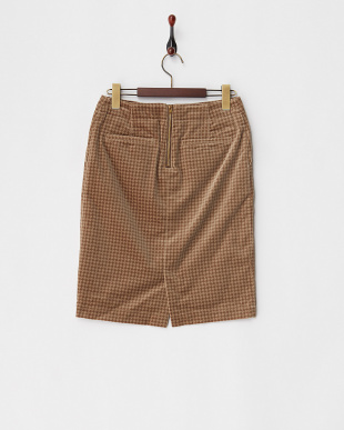 ブラウンベージュ  小紋風柄 別珍スカート見る