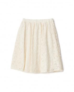 オフホワイト レースギャザースカート見る