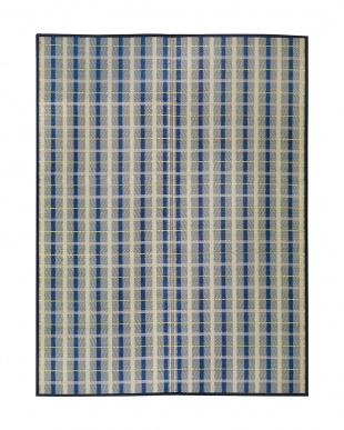 ブルー  筑後 国産い草ラグ 174×174cm見る
